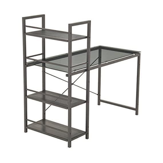"""Techni Mobili Modern Smokey Grey Tempered Shelves Glass Top Computer Workstation, 49"""" W x 25"""" D x 47.5"""" H, - 8mm Smoke tempered Glass surface Scratch resistant powder-coated steel frame painted in Black 3 accessory shelves - writing-desks, living-room-furniture, living-room - 41jCOgon0CL. SS570  -"""