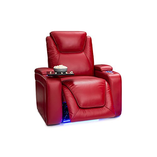 (Seatcraft Equinox Home Theater Seating - Leather - Power Recliner - Adjustable Power Headrest - Adjustable Powered Lumbar Support - USB Charging - Storage - SoundShaker - Lighted Cup Holders - Red)