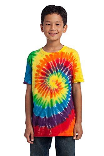 (Port & Company Youth Essential Tie Dye Crewneck T-Shirt_Rainbow_X-Large)