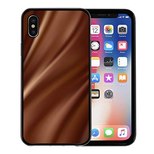 Semtomn Phone Case for Apple iPhone Xs case,Brown Milk Abstract Chocolate Cream Sweet Shine Smooth Swirl for iPhone X Case,Rubber Border Protective Case,Black ()