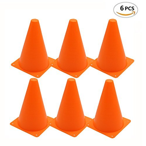 HUELE 7 Inch Plastic Traffic Cones - Multipurpose Construction Theme Party Sports Activity Cones for Kids Outdoor and Indoor Gaming and Festive Events, pack of 6 (Traffic Cones Plastic)