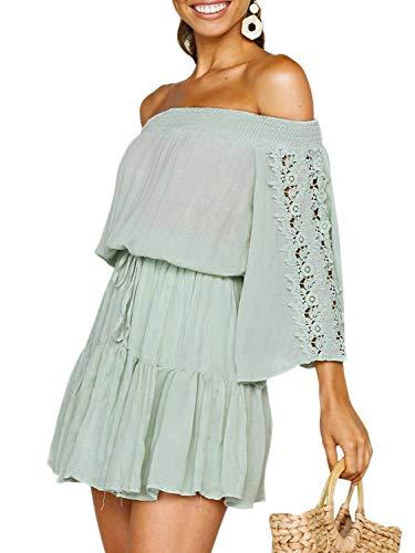 1697883be78 Fashiomo Women s Off Shoulder Flare Sleeve Mini Dress Pleated Ruffle Summer  Swing Dress Light Green