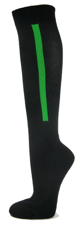 Couverストライプon Black Knee Highスポーツ/ソフトボール/野球ソックス B00G9FGX38ブライトグリーン