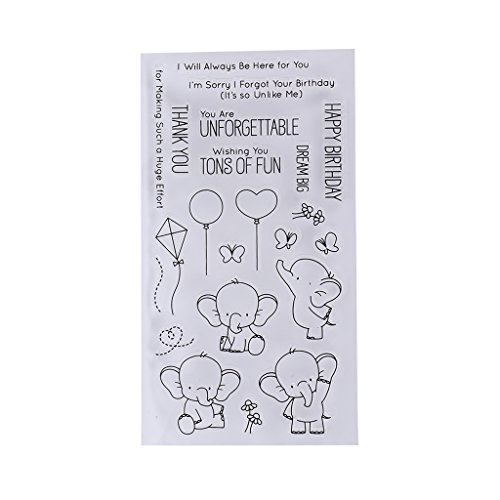 - Bduco Clear Stamps for Card Making - Cute Elephant, Transparent Silicone Seal Stamp for DIY Scrapbooking Craft Card Photo Album Decor