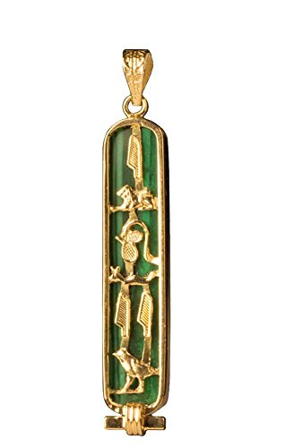 "Discoveries Egyptian Imports - Malachite Stone Back Cartouche with""I LOVE YOU"" in 18k Gold Hieroglyphic Symbols"