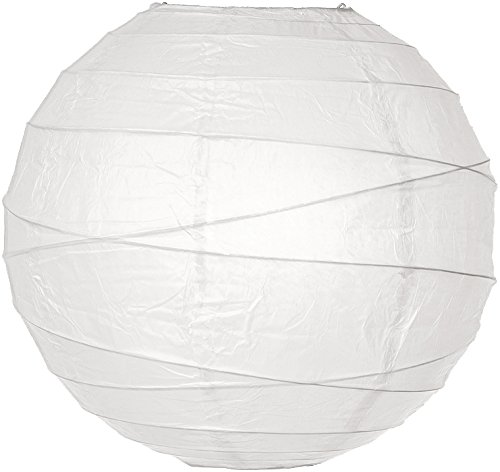 (Luna Bazaar Paper Lantern (12-Inch, Free-Style Ribbed, White) - Rice Paper Chinese/Japanese Hanging Decoration - for Home Decor, Parties, and Weddings)