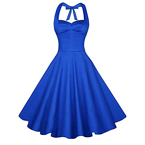 Anni Coco Womens Halter Polka Dots 1950s Vintage Swing Tea Dress - Small - 1st - Royal Blue
