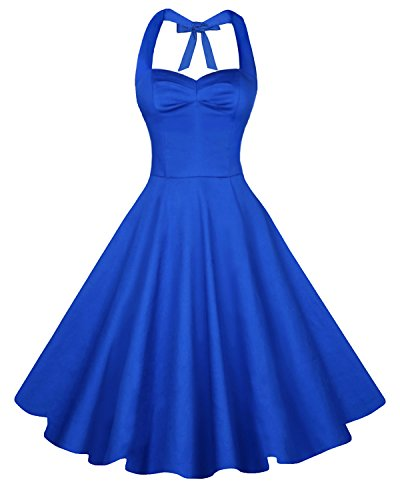 Anni Coco Women's Halter Polka Dots 1950s Vintage Swing Tea Dress - Medium - 2nd - Royal Blue
