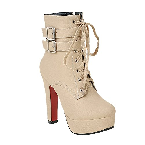 Ankle Heel Platform Boots Shine Show Buckle Women's High up Beige Lace Zip zgq0RgFw