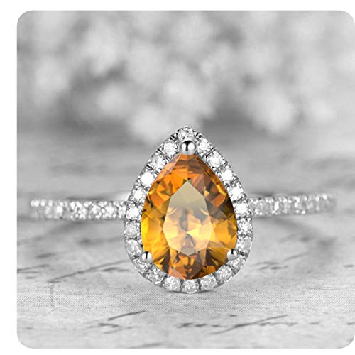 Gold & Diamonds Jewellery 1.50 Ctw Pear Shaped Created Citrine & White Diamond 14k White Gold Over Sterling Silver Engagement Ring for Women's