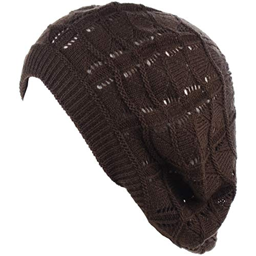 BYOS Chic Soft Knit Airy Cutout Lightweight Slouchy Crochet Beret Beanie Hat ()