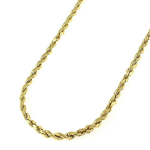 Gold Yellow Hollow Rope 10k - 10k Yellow Gold 2.5mm Hollow Rope Diamond-Cut Link Twisted Chain Necklace 16
