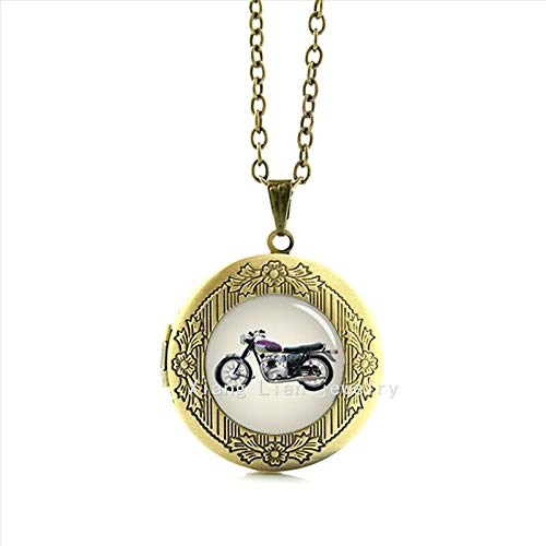 Pendant Necklaces - Independent Original Design Vintage Motorcycle Motorbike Picture Locket Necklace Christmas Gifts for Men T850 - by TAFAE - 1 PCs (Swash Links)
