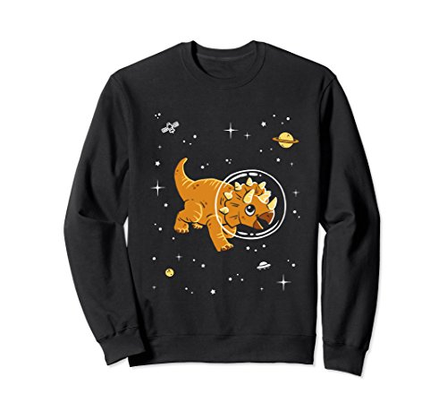 Unisex Triceratops In Space Sweatshirt - Cool Dinosaur Sweater XL: Black