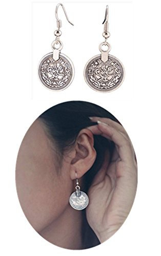 Sophie Land Silver Round Ancient Coin Dangle Drop Hook Earrings