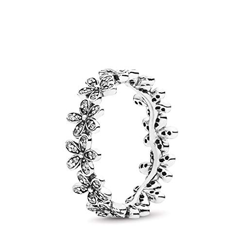 PANDORA Dazzling Daisy Meadow Stackable Ring, Sterling Silver, Cubic Zirconia, Size 5 ()
