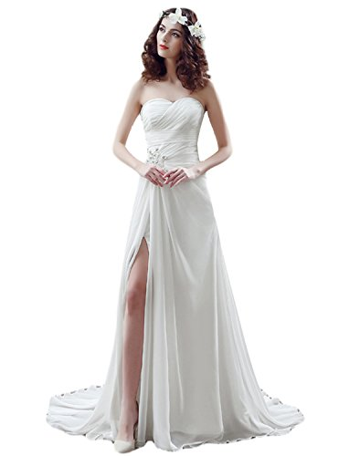 OYISHA Women's Strapless Beaded Chiffon Beach Wedding Dresses For Bride WD1 Ivory 22W (Informal Dresses Strapless Wedding)