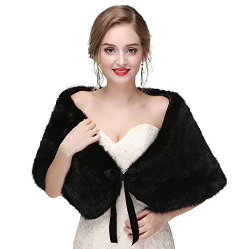 CanB Women's 1920s Faux Fur Shawl Bridal Wedding Fur Wraps and Bolero Shrug Faux Mink Stole for Women and Girls (Black)