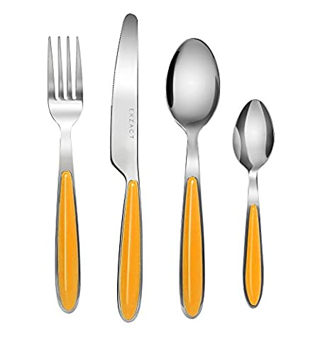 Exzact EX07 - 24 pcs Flatware Cutlery Set - Stainless Steel With Color Handles - 6 Forks, 6 Dinner Knives, 6 Dinner Spoons, 6 Teaspoons (Orange x - Stainless 2 Dinner Knives