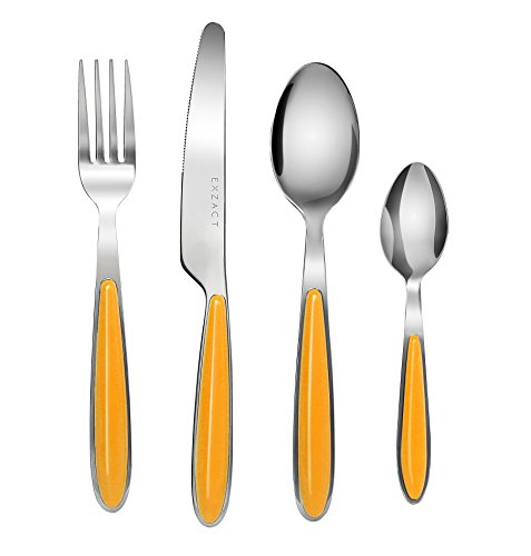 Exzact EX07 - 16 pcs Flatware Cutlery Set - Stainless Steel With Color Handles - 4 Forks, 4 Dinner Knives, 4 Dinner Spoons, 4 Teaspoons (Orange x (Handle Dinner Knife)