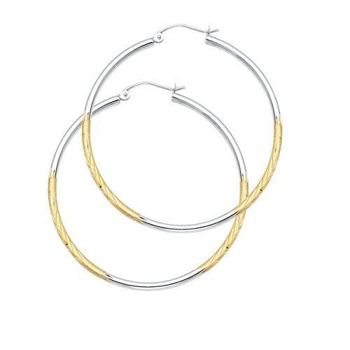14K Yellow White Gold 2mm Diamond Cut Satin Hoop Earrings Size - (Diameter - 40 MM) by Top Gold & Diamond Jewelry