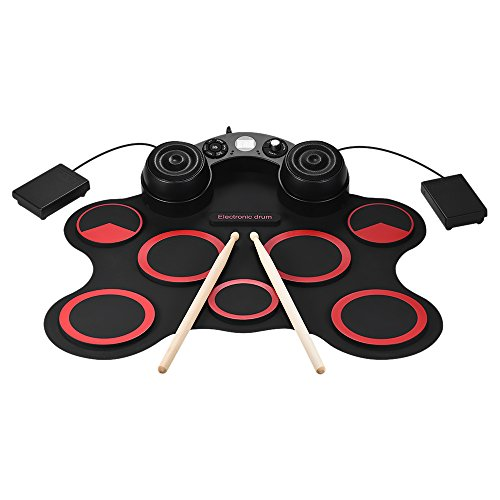 ammoon Stereo Digital Electronic Drum Kit Set Portable USB 7 Silicon Drum Pads Built-in Double Speakers Supports Recording Function with Drumsticks Foot Pedals by ammoon