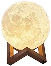 Aibecy Moon Lamp USB Rechargeable LED Printed 3D PLA Night Light, ابيض, 20cm