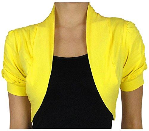KMystic Short Sleeve Bolero Shrug Cardigan (Small, Bright Yellow ...