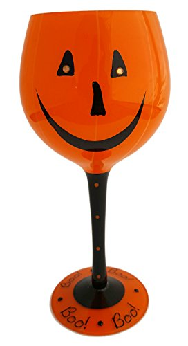 Halloween Pumpkin Face Wine Glass with Boo! Printed on Stem