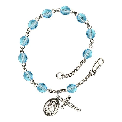 St. Philip the Apostle Silver Plate Rosary Bracelet 6mm March Light Blue Fire Polished Beads Crucifix Size 5/8 x 1/4 medal (9083 Series)