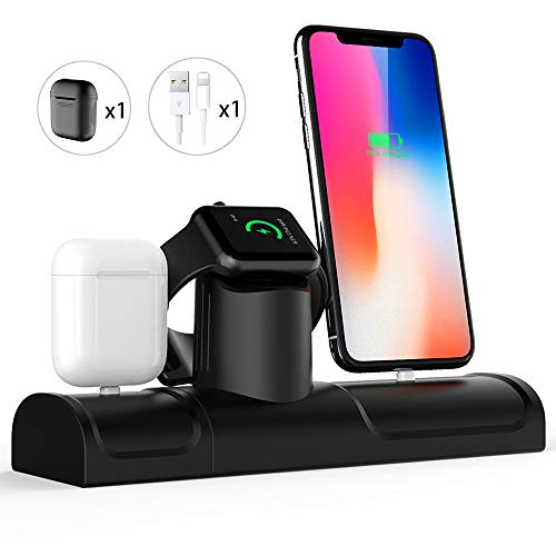 Daite Charging Stand for Apple Products,3 in 1 Charging Dock Stand Compatible with iPhone Xs/Xs Max/Xr/X/8 plus/8/7plus/7/iWatch Series 4/3/2/1. (3 in 1)