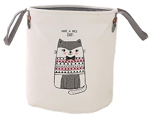 Basket , Dirty Cloth Drawstring Storage Bin Toy Collection Organizer with Two Handles for Nursery Kid's Room - Gray Cat (Toy Basket Liner)