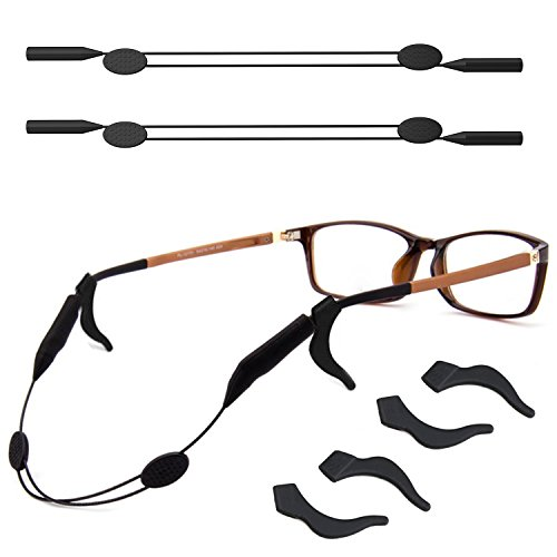 Retainer Eyewear - 2 Pack Adjustable Eyewear Retainer with Anti-slip Holder, 13 inches Sunglass Straps Holder for all Types of Sunglasses, Optical Frame, Reading Glasses (Black)