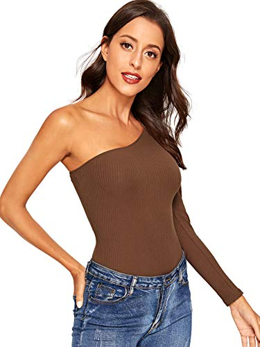 - Verdusa Women's Sexy One Shoulder Off Rib Knit Thong Bodysuit Coffee XS