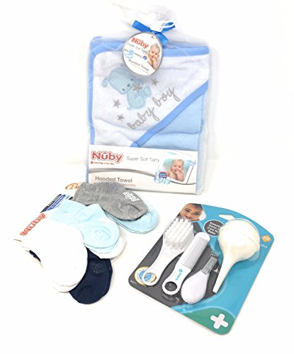 Hooded Baby Towel Set of 2 with Grooming and Health Kit and 6 sets of Socks, Gift Kit Bundle from Safety First and Nuby
