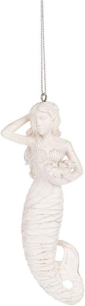 Midwest Seasons White Resin Mermaid Holding Sea Shells Ornament