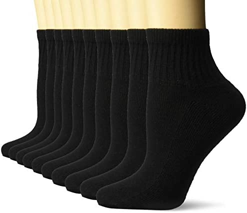 Amazon Essentials Women's 10-Pack Cotton Lightly Cushioned Ankle Socks