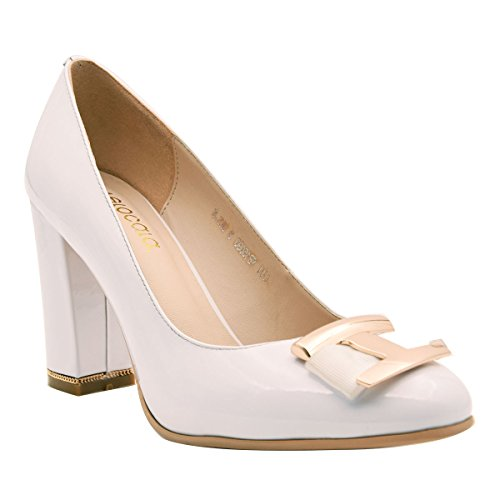 Leather Shoes Patent Court B Decoration H Women's Ornament Evening Pumps Verocara Chunky white Genuine Dress Heel vUqwYxB