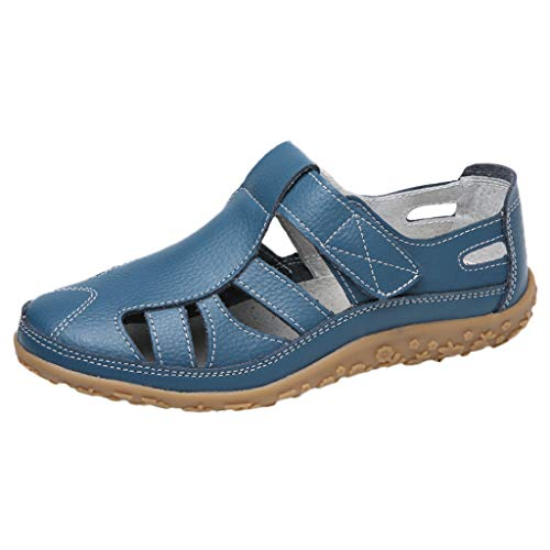 SMALLE_Shoes Closed Toe Sandals for Women,Summer Leather Loafers Moccasins Hollow Out Casual Flats Breathable Sandals Blue