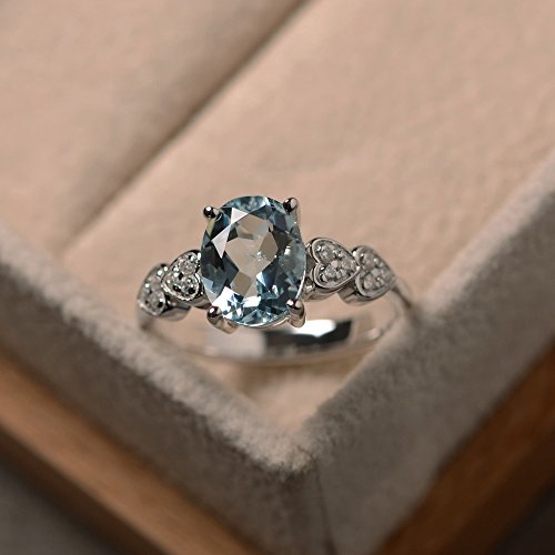 aquamarine ring sterling silver oval cut size 3-10 prong setting March birthstone
