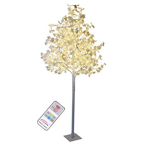 Lit Crystal Artificial Christmas Tree - LIGHTSHARE White Maple Tree - 8 ft. with 264 LED Lights, Multi-Color Lights, Remote Control