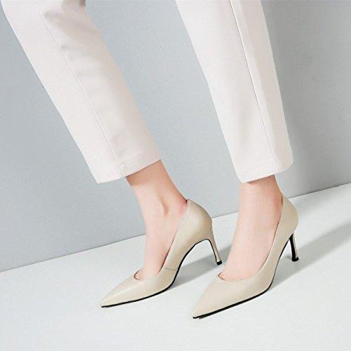 Profonde Chaussures Beige Talon Cuir Fin Femmes Hauts Basses Pointu DKFJKI Talons Bouche pour Talon Peu Haut wZ74Tx1qO