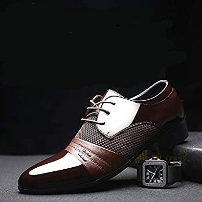 Michealboy Mens Classic Lace-up Leather Net Surface Breathable Pointed Toe Dress Shoes