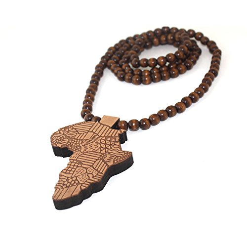 Baoyi Jewelry Africa Map Wooden Hip-hop Wooden Pendant Piece Wood Bead Chain Good Wood Style ()