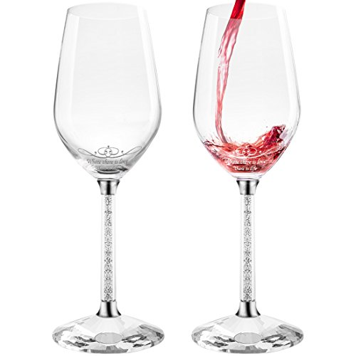 Avery Barn Crystal Large Red Long Stem Wine Glasses with Sayings | Hand Blown | Gifts for Women or Men | Set of 2 | Thin Rim Wineglasses Universal Stemware - Candle Shaded
