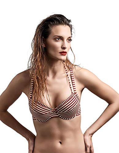 93f5ad2977 Marlies Dekkers 18180/181801 Women's Holi Vintage Red Striped Bikini Top  36DDD/F