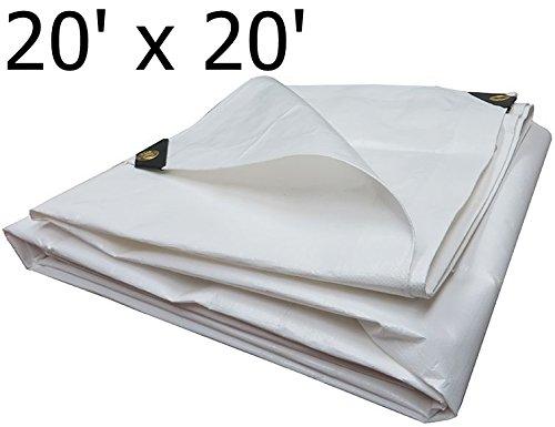 Heavy Duty Reinforced Tarpaulin All Purpose Canopy Poly Tarps 6Oz 12 Mil (20 X 20 - Feet, White) (All Purpose Canopy)