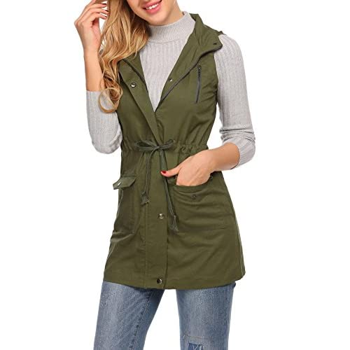 8b994a472c82b new ELESOL Womens Military Anorak Safari Utility Vest Sleeveless Hooded  Jacket w Pocket
