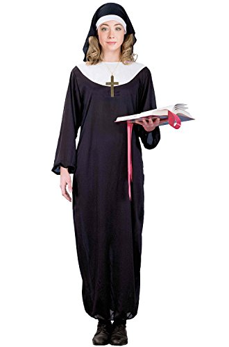 Forum Novelties Women's Traditional Nun Costume Headpiece and Collar, Black, One Size