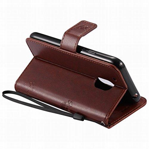 Custodia Motorola Moto G4 Play Cover Case, Ougger Alberi Gatto Printing Portafoglio PU Pelle Magnetico Stand Morbido Silicone Flip Bumper Protettivo Gomma Shell Borsa Custodie con Slot per Schede (Mar